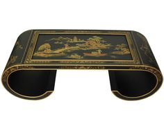 Today's Promotion Oriental Scroll Coffee Table By Oriental Furniture Coffee Table To Dining Table, Black Coffee Tables, Coffee Table Wayfair, Glass Top Coffee Table, Cool Coffee Tables, Coffee Table With Storage, Tufted Storage Ottoman, Oriental Furniture, Cocktail Tables