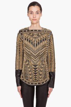 Handmade Embroidered Runway Blouse by Balmain.  Black leather with  gold tone metal and clear rhinestone embroidery.  Spectacular!