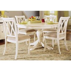 American Drew Camden Light Round Dining Pedestal Table in White
