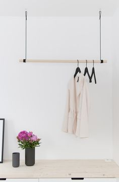 New hanging wardrobe & a little more bedroom Hanging Wardrobe, Hanging Closet, Diy Hanging, Ikea Interior, Interior Design, Design Design, Hanging Clothes Racks, Clothes Hanger, Ikea Nordli