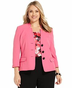 Kasper Plus Size Three-Button Stretch Blazer - Plus Size Jackets & Blazers - Plus Sizes - Macy's