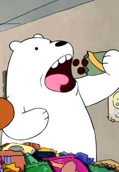 과자 먹는 아이스베어 (2) We Bare Bears, We Bear, Cute Little Things, Looney Tunes, Panda, Snoopy, Animation, Wallpaper, Disney