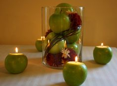 wedding table decorations using apples | Unique and Simple Centerpieces – Apple Candle Holders | Budget ...