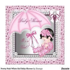"Pretty Pink White Girl Baby Shower 5.25"" Square Invitation Card"