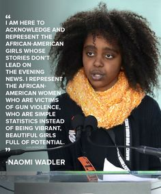 Naomi Wadler, 11, at the March for Our Lives against gun violence, March 2018