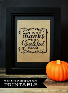 Free Thanksgiving Printable. Can be printed as Thanksgiving Decor or a cute Utensil holder