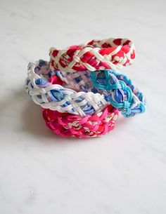 DIY 5,7 and 9 Strand Cord and Fabric Braided Bracelet Tutorial