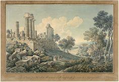 """""""Vue d'une partie des ruines du temple de Junon à Agrigente,"""" Jacques Martin Sylvestre Bence (engraver), Louis François Cassas (draftsperson), ca. 1801"""