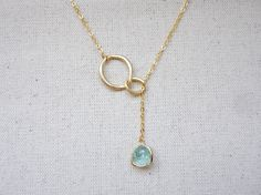 Gold lariat necklace, Interlocking circle and teardrop stone necklace, Eternity love lariat necklace, Wedding jewelry, Bridesmaid necklace by KeyYoung on Etsy https://www.etsy.com/listing/130249466/gold-lariat-necklace-interlocking-circle