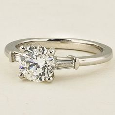 Platinum Tapered baguette Diamond Ring | Set with a 1.14 Carat, Round, Very Good Cut, G Color, SI1 Clarity Diamond. #BrilliantEarth