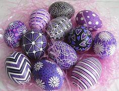 Purple decorated eggs