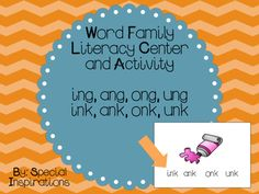 Great addition to you literacy centers, phonics lessons, and/or tutorial sessions. Laminate and use as individual cards or make into a word family book! 29 pictures!Students circles the word family that the picture belongs to. EX: Student sees the picture of the pink paint tube and says pink, pink belongs to the -ink family and circles ink.
