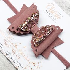 Double stacked vintage rose suede and glitter bow