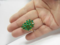4.75cts Natural Colombian Emerald Cluster Cocktail Ring 18K Gold **GORGEOUS**