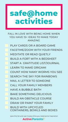Self-isolating sounds ideal under any other circumstances, but doing it with kids at home is hard! Active Parents has 15 ways to pass the time together while indoors or