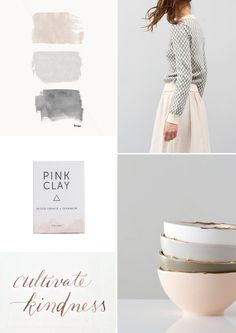 pink and neutrals mood board. April and May