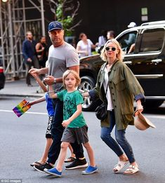Naomi Watts and Liev Schreiber out with son in an @appaman tee and native shoes