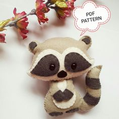 Raccoon PDF pattern-Woodland animals toy-DIY-Nursery decor-Baby's mobile toy-Felt Raccoon toy-Kids present-Felt ornament raccoon Sweet Felt Raccoon pdf pattern. Felt Ornaments Patterns, Felt Crafts Patterns, Ornaments Ideas, Sewing Toys, Sewing Crafts, Sewing Projects, Felt Animal Patterns, Stuffed Animal Patterns, Diy Toys