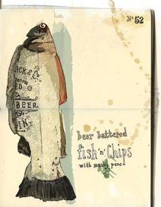 Fish food illustration