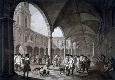 View of the courtyard in the Royal Exchange with merchants and brokers, City of London