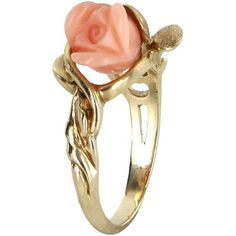 Pre-Owned Carved Coral Rose Flower Cocktail Ring  14k Yellow Gold (€460) ❤ liked on Polyvore featuring jewelry, rings, yellow gold, gold charms, 14k gold ring, vintage rings, gold ring and 14k gold charms