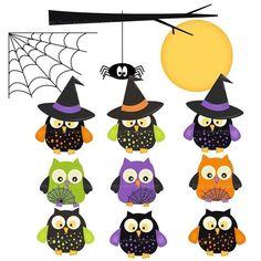 Artículos similares a Halloween buho Clip Art Halloween Clipart en Etsy