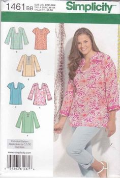 Simplicity Sewing Pattern 1461 Womens Plus Sizes 20W-28W Pullover Tops Sleeve Options Kurda