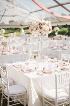 Chic, Pastel Tablescape | Photography: Style & Story Creative. Read More: http://www.insideweddings.com/weddings/catholic-ceremony-romantic-modern-outdoor-wedding-reception/851/