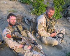 US Navy SEALs Mike Murphy and Matt Axelson. They were good friends and were both KIA in 2005. Navy SEALs don't give up, they just run out of blood.