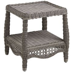 Our outdoor table is traditionally styled, with a bottom shelf for storage or display. And because it's woven by hand, you'll notice tons of special details like fully wrapped legs and rich textures. All of which makes this a durable, versatile look for patios or porches.
