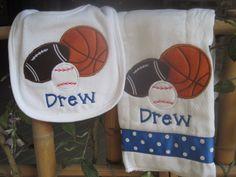 Personalized Baby Burp Cloth Bib Sports Baby Boy by SixIsEnough, $13.00