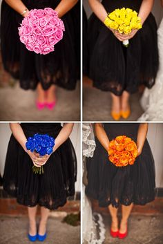 Black bridesmaid dresses with bright shoes and bouquets look RAD! Click here to see more of this wedding! Beautiful!