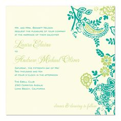 Teal and Lime on Antique White Wedding Invitations
