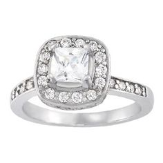 Princess cut halo diamond engagement ring from Overnight