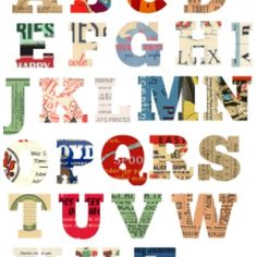 printable letters in cool vintage prints, there's numbers too.
