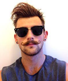 Nathan. Ray-Ban Clubmaster. Hairstyle + Facial hair
