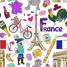 Modelo inconsútil de Francia. Iconos relacionados con Francia. France.