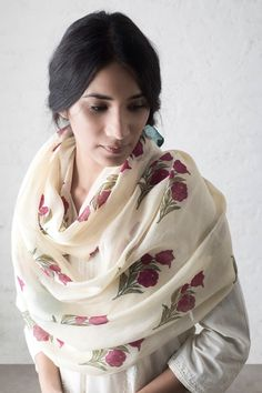 Bougainvillea Chanderi Scarf #Goodearth