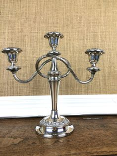 Silver plated triple vintage freestanding by GilbertandCrick