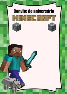 Baixe aqui e veja como customizar 5 downloads grátis de convite para a festa Minecraft