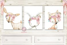 3 Deer Fox Bunny Rabbit Pink Feather Wall Art Print Woodland Boho Balloon Bohemian Nursery Baby Girl Room Set Lot Prints Printable Decor