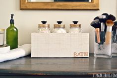 DIY mason jar holder- perfect for bathroom organization!