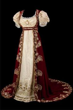 Spectacular #Regency ballgown. Consider something similar with dancing shoes beaded around the edges in place of the gold trim.