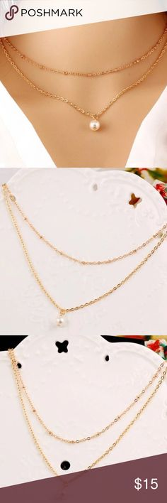 danity gold 2 layer faux pearl statement necklace Brand new with tags✨material: alloy, faux pearl✨ color: gold✨length: 40cm+5cm✨ expect fast shipping  Any questions ? leave me a comment & check out my other listings✨ 15% off on bundles buy more  save more  Jewelry Necklaces
