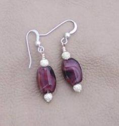 Breathtaking Handcrafted Silver & Plum Bead Earrings - E201 - By JewelryArtistry    $18.00