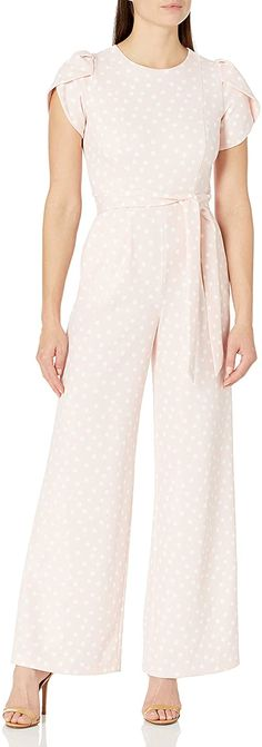 Calvin Klein Women's Tulip Sleeve Jumpsuit with Self Belt at Amazon Women's Clothing store