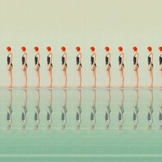 Origins: Maria Svarbova's continuation of her conceptual swimming pool photography. Maria Svarbova is a photographer and art director who lives and works Art And Illustration, Pattern Illustration, Fotografia Fine Art, Retro, Motif Art Deco, Synchronized Swimming, Colossal Art, Saul Leiter, Grafik Design