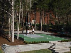 Basketball Court Design Ideas, Pictures, Remodel, and Decor - page 9 Basketball Park, Backyard Basketball, Outdoor Basketball Court, Basketball Tricks, Custom Basketball, Basketball Birthday, Backyard Walkway, Backyard Ideas, Pool Ideas