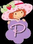 Alfabeto de Strawberry Shortcake con flor morada.   Oh my Alfabetos!