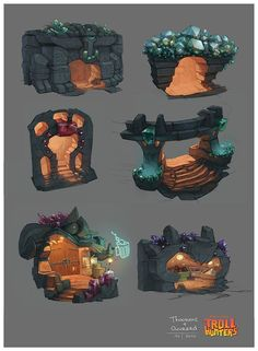 Drawing Ideas Trollhunters Concept Art by Geoffroy Thoorens Game Art, Concept Art World, Game Concept Art, Environment Concept, Environment Design, Game Environment, Prop Design, Game Design, Art And Illustration